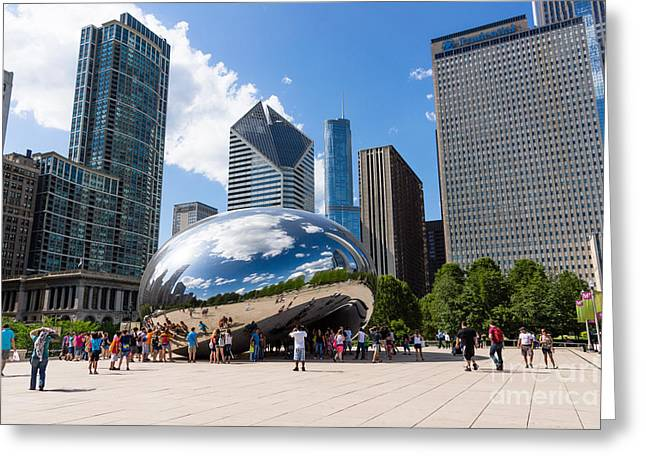Cloud Gate Greeting Cards - Chicago Bean Cloud Gate with People Greeting Card by Paul Velgos
