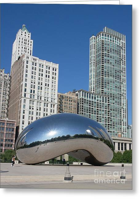 Chicago Pyrography Greeting Cards - Chicago Bean Greeting Card by Wendy Jackson