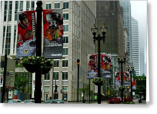 Chicago Flag Greeting Cards - Chicago Blackhawk Flags Greeting Card by Ely Arsha