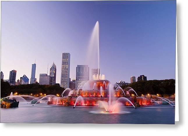 Chicago Landmark Greeting Cards - Chicago Buckingham Fountain at Twilight Greeting Card by Abhi Ganju