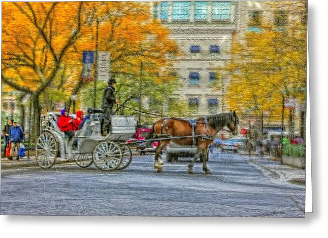 Magnificent Mile Digital Art Greeting Cards - Chicago Carriage Ride  Greeting Card by Vladimir Rayzman