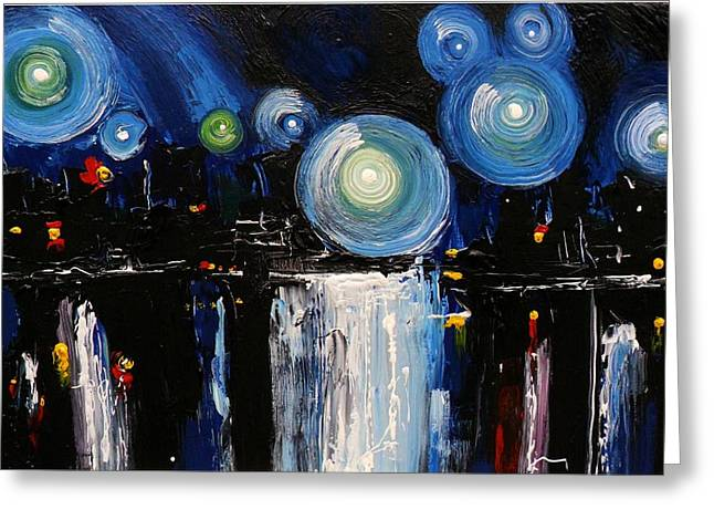 Pallet Knife Greeting Cards - Chicago City Lights Greeting Card by Skye Taylor