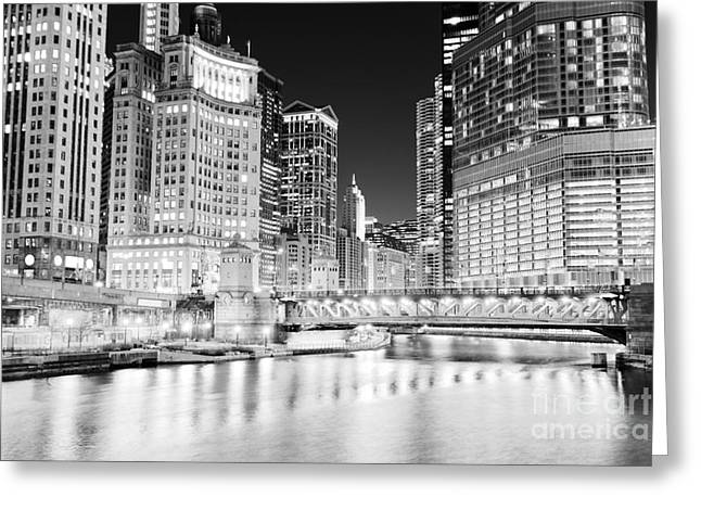 Marina Night Greeting Cards - Chicago Cityscape at Night at DuSable Bridge Greeting Card by Paul Velgos