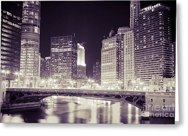 333 Greeting Cards - Chicago Cityscape at State Street Bridge Greeting Card by Paul Velgos