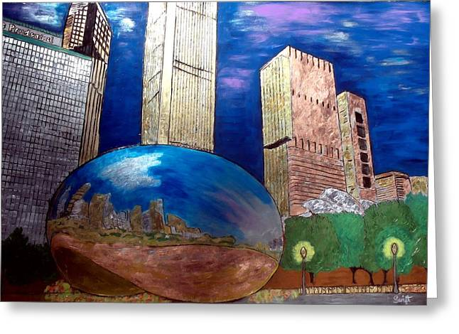 Magnificent Mile Mixed Media Greeting Cards - Chicago Cloud Gate at Millennium Park Greeting Card by Char Swift