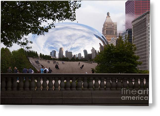 Chicago Reflections Greeting Cards - Chicago Cloud Gate Bean Sculpture Greeting Card by Paul Velgos