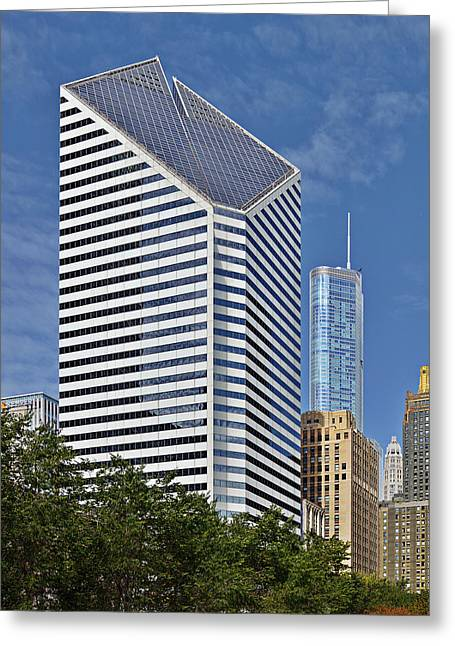 Stone Greeting Cards - Chicago Crain Communications Building - former Smurfit-Stone Greeting Card by Christine Till