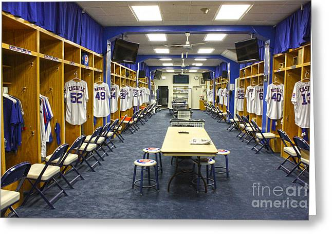 Dressing Room Photographs Greeting Cards - Chicago Cubs Dressing Room Greeting Card by David Bearden