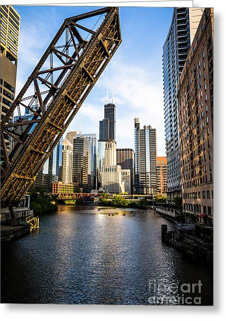 Railroad Bridge Greeting Cards - Chicago Downtown and Kinzie Street Railroad Bridge Greeting Card by Paul Velgos
