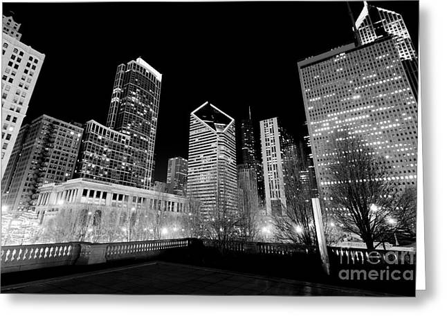 Center City Greeting Cards - Chicago Downtown at Night  Greeting Card by Paul Velgos