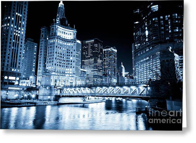 Tinted Greeting Cards - Chicago Downtown Loop at Night Greeting Card by Paul Velgos