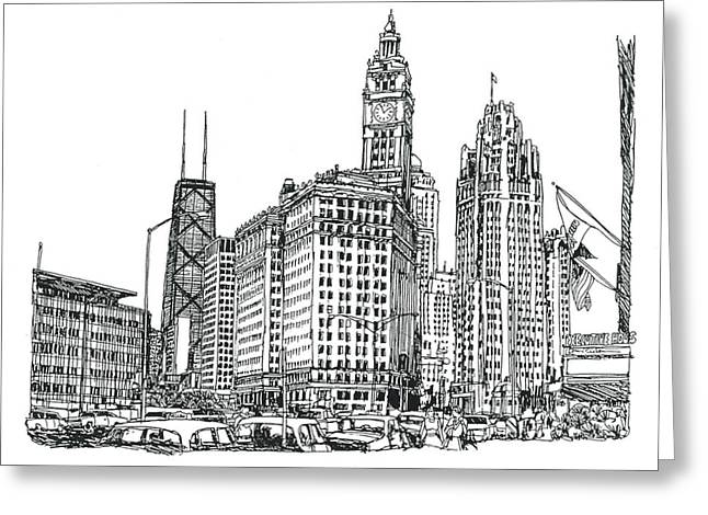 Downtown Drawings Greeting Cards - Chicago Downtown Greeting Card by Robert Birkenes
