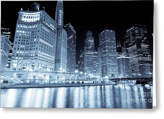 Irv Greeting Cards - Chicago Downtown Skyline at Night Greeting Card by Paul Velgos