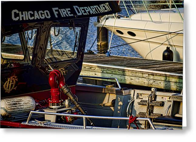 Lake Michgan Greeting Cards - Chicago FIre Department boat  Greeting Card by Sven Brogren