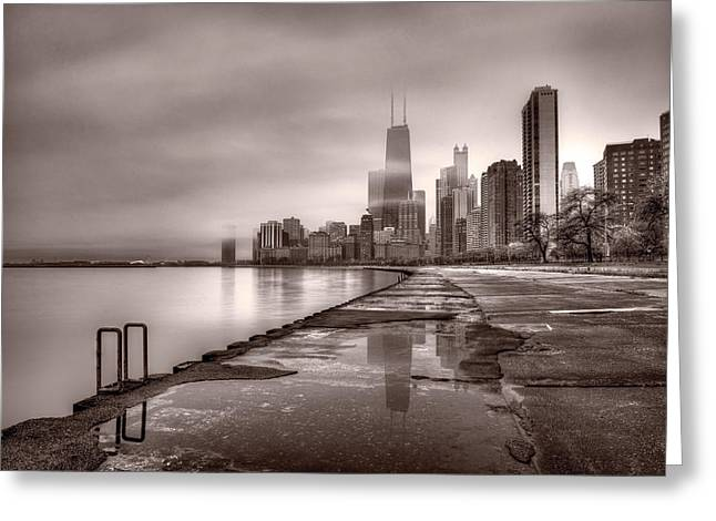 Chicago Reflections Greeting Cards - Chicago Foggy Lakefront BW Greeting Card by Steve Gadomski