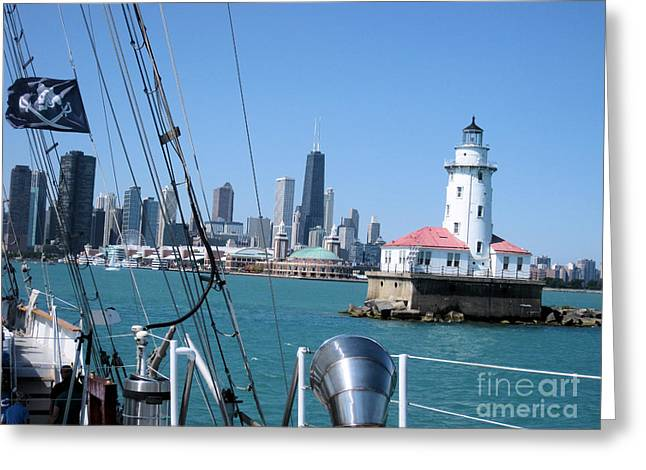Windy Pyrography Greeting Cards - Chicago Harbor Lighthouse Greeting Card by Sonia Flores Ruiz
