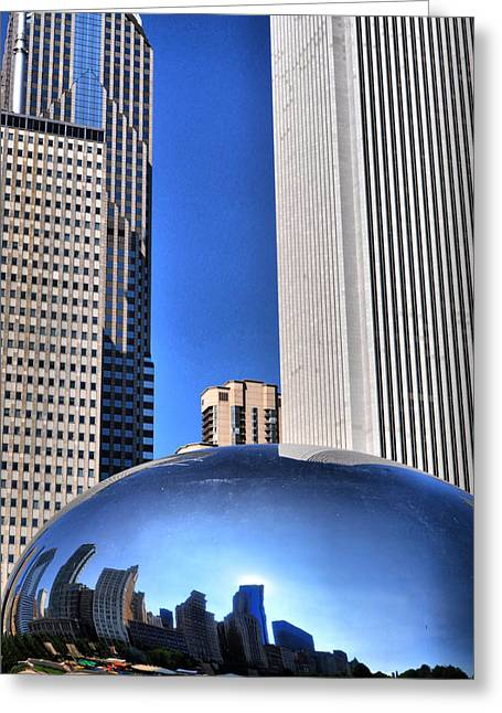 The Bean Greeting Cards - Chicago In A Bubble Greeting Card by Emily Stauring