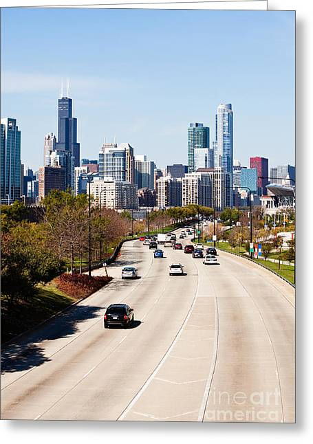 Chicago Lake Shore Drive Cars Greeting Card by Paul Velgos