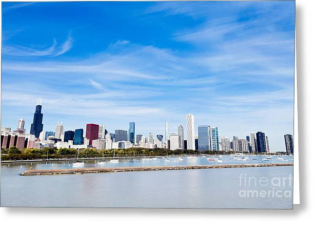 Sailboat Photos Greeting Cards - Chicago Lakefront Skyline Wide Angle Greeting Card by Paul Velgos