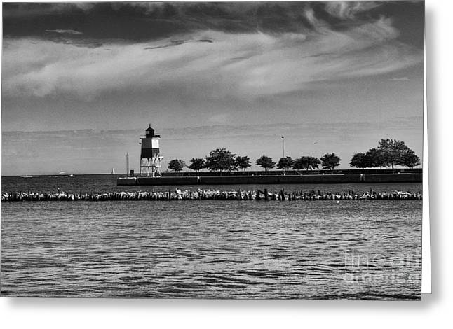 Chicago Lighthouse Greeting Card by Leslie Leda