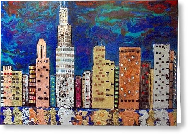 Magnificent Mile Mixed Media Greeting Cards - Chicago Metallic Skyline Reflections Greeting Card by Char Swift