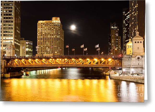 Center City Greeting Cards - Chicago Michigan Avenue DuSable Bridge at Night Greeting Card by Paul Velgos