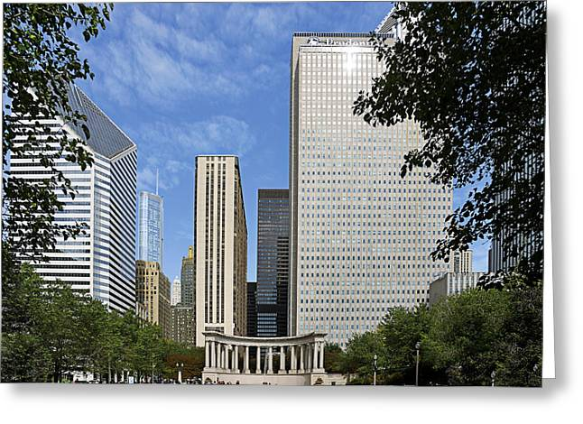 Horseshoe Greeting Cards - Chicago Millennium Monument and Fountain Greeting Card by Christine Till