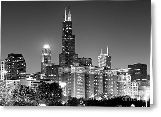 Downtown Franklin Greeting Cards - Chicago Night Skyline in Black and White Greeting Card by Paul Velgos