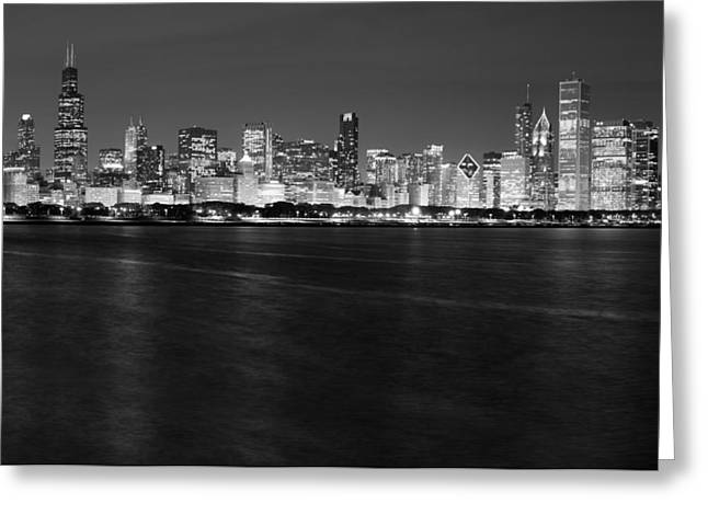 Chicago Black White Greeting Cards - Chicago Night Skyline in Black and White Greeting Card by Twenty Two North Photography