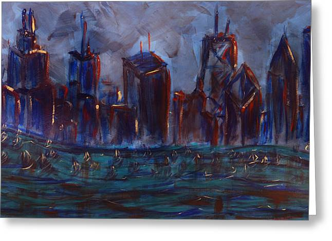 Barack Greeting Cards - Chicago Night Skyline with Lake Sail Boats on water Buildings and Architecture in Blue Orange Green  Greeting Card by M Zimmerman MendyZ
