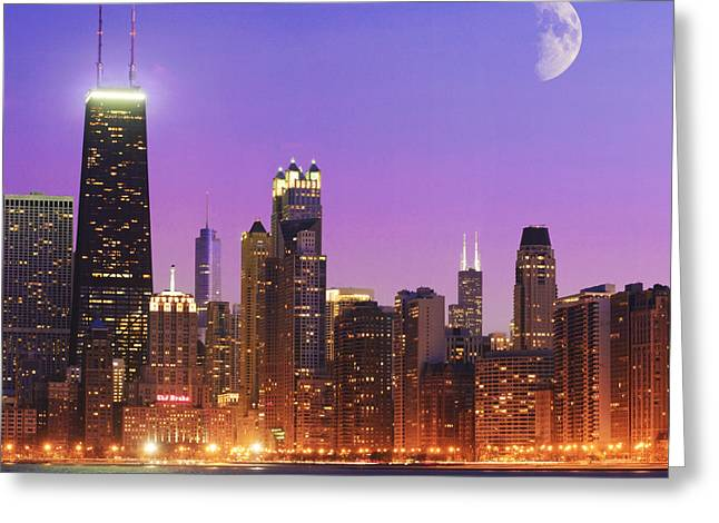 Night Scenes Greeting Cards - Chicago Oak Street Beach Greeting Card by Donald Schwartz