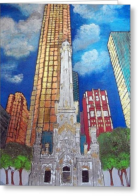 Chicago Old Water Tower Greeting Card by Char Swift