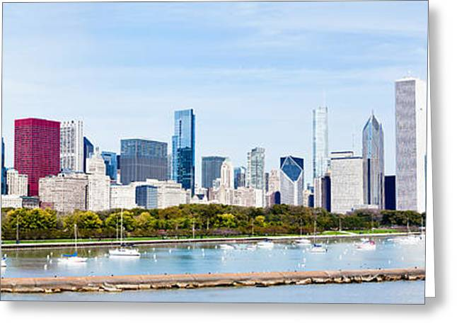 Sailboat Photos Greeting Cards - Chicago Panorama Skyline Greeting Card by Paul Velgos