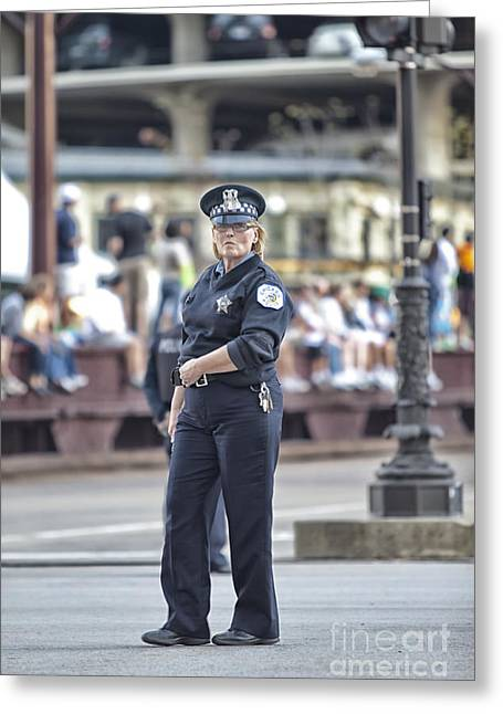 Policewoman Greeting Cards - Chicago Police Lady Greeting Card by Christopher Purcell