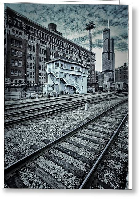 Duo Tone Digital Art Greeting Cards - Chicago Rail Station Greeting Card by Donald Schwartz