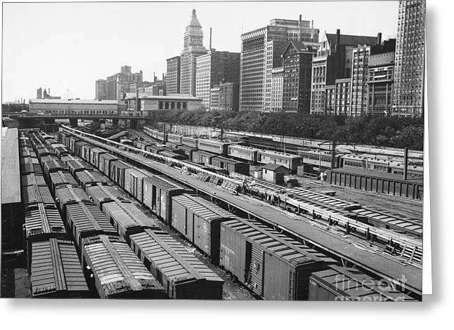 Congress Street Greeting Cards - CHICAGO: RAILYARD, c1960s Greeting Card by Granger