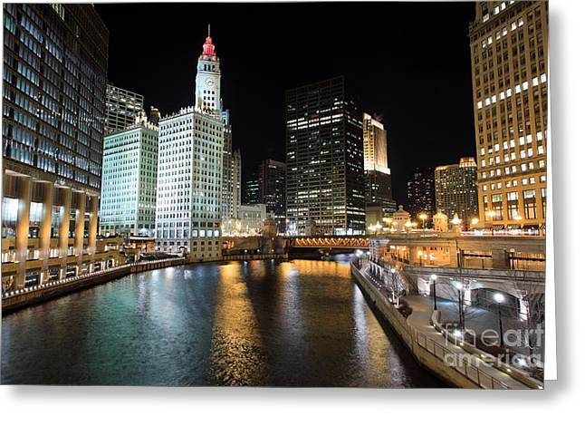 Architecture Greeting Cards - Chicago River at Michigan Avenue Bridge Greeting Card by Paul Velgos