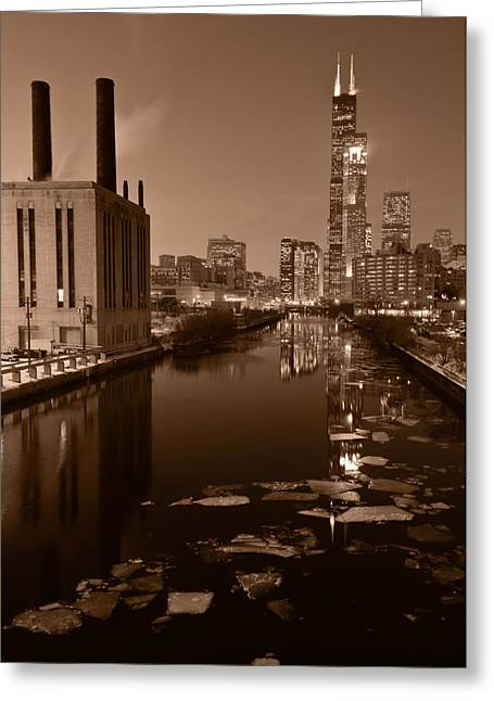 City Buildings Greeting Cards - Chicago River B and W Greeting Card by Steve Gadomski