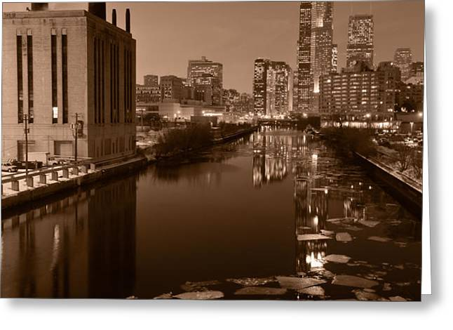 Chicago River B and W Greeting Card by Steve Gadomski