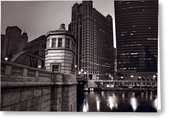 Chicago River Bridgehouse Greeting Card by Steve Gadomski