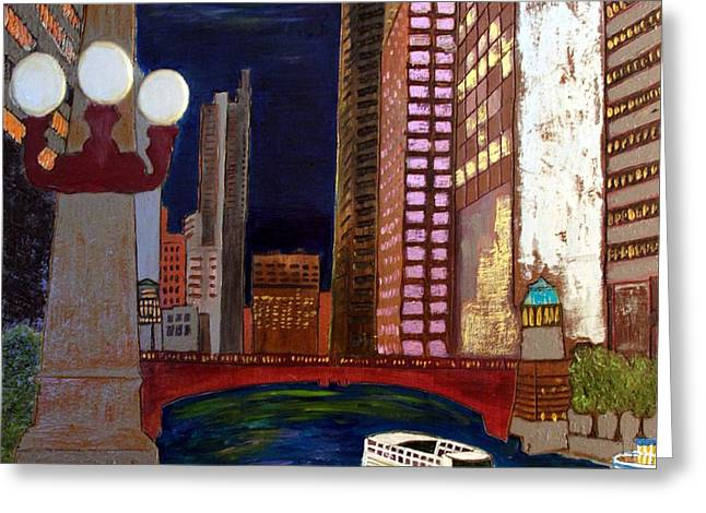 Magnificent Mile Mixed Media Greeting Cards - Chicago River Greeting Card by Char Swift