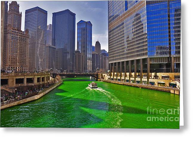 Patrick Willis Greeting Cards - Chicago River Greeting Card by Dejan Jovanovic