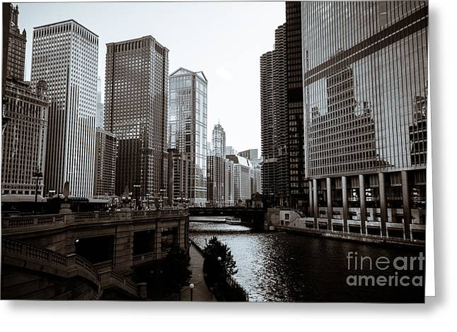 United Airline Greeting Cards - Chicago River Downtown Buildings in Black and White Greeting Card by Paul Velgos