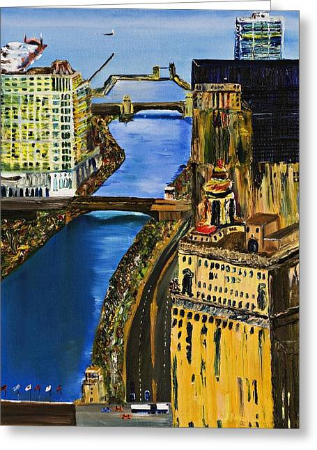 Gregory Allen Page Greeting Cards - Chicago River Skyline Greeting Card by Gregory A Page