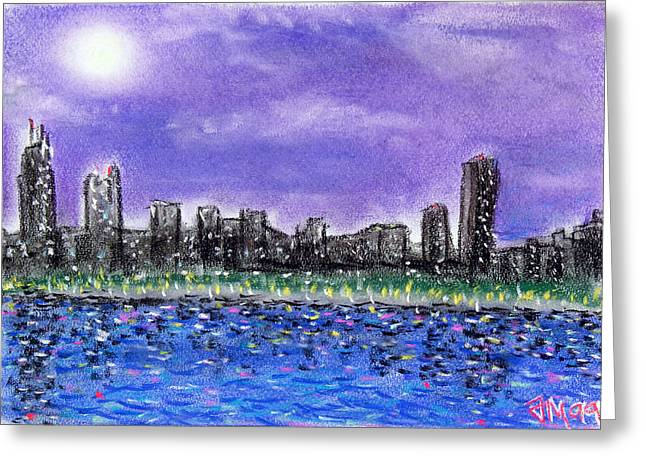 Skylines Pastels Greeting Cards - Chicago skyline 1 Greeting Card by Joe Michelli