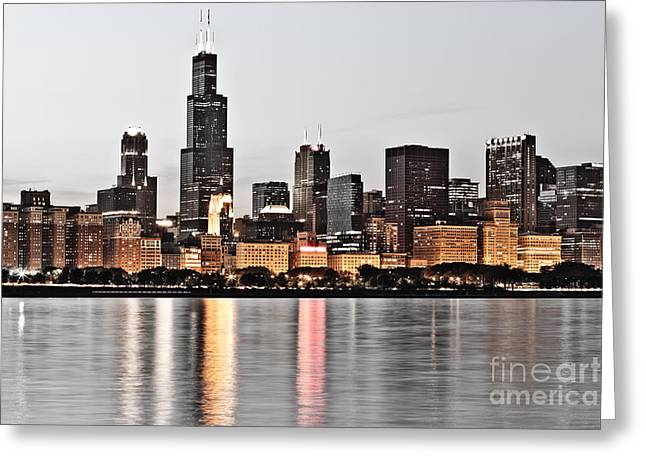 Hilton Greeting Cards - Chicago Skyline at Dusk Photo Greeting Card by Paul Velgos