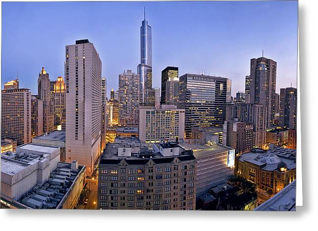 City Buildings Greeting Cards - Chicago skyline at dusk Greeting Card by Scott Norris