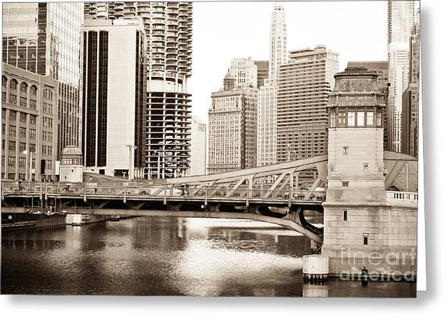 Chicago Skyline At Lasalle Street Bridge Greeting Card by Paul Velgos