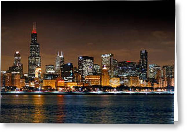 Night Scenes Greeting Cards - Chicago Skyline at NIGHT Extra Wide Panorama Greeting Card by Jon Holiday