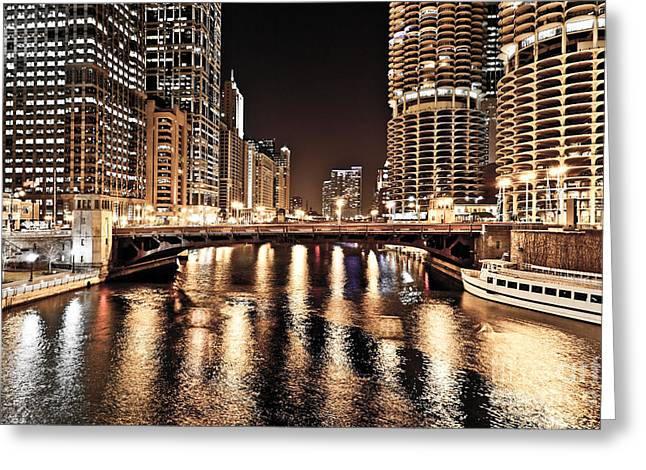 Marina Night Greeting Cards - Chicago Skyline at State Street Bridge Greeting Card by Paul Velgos
